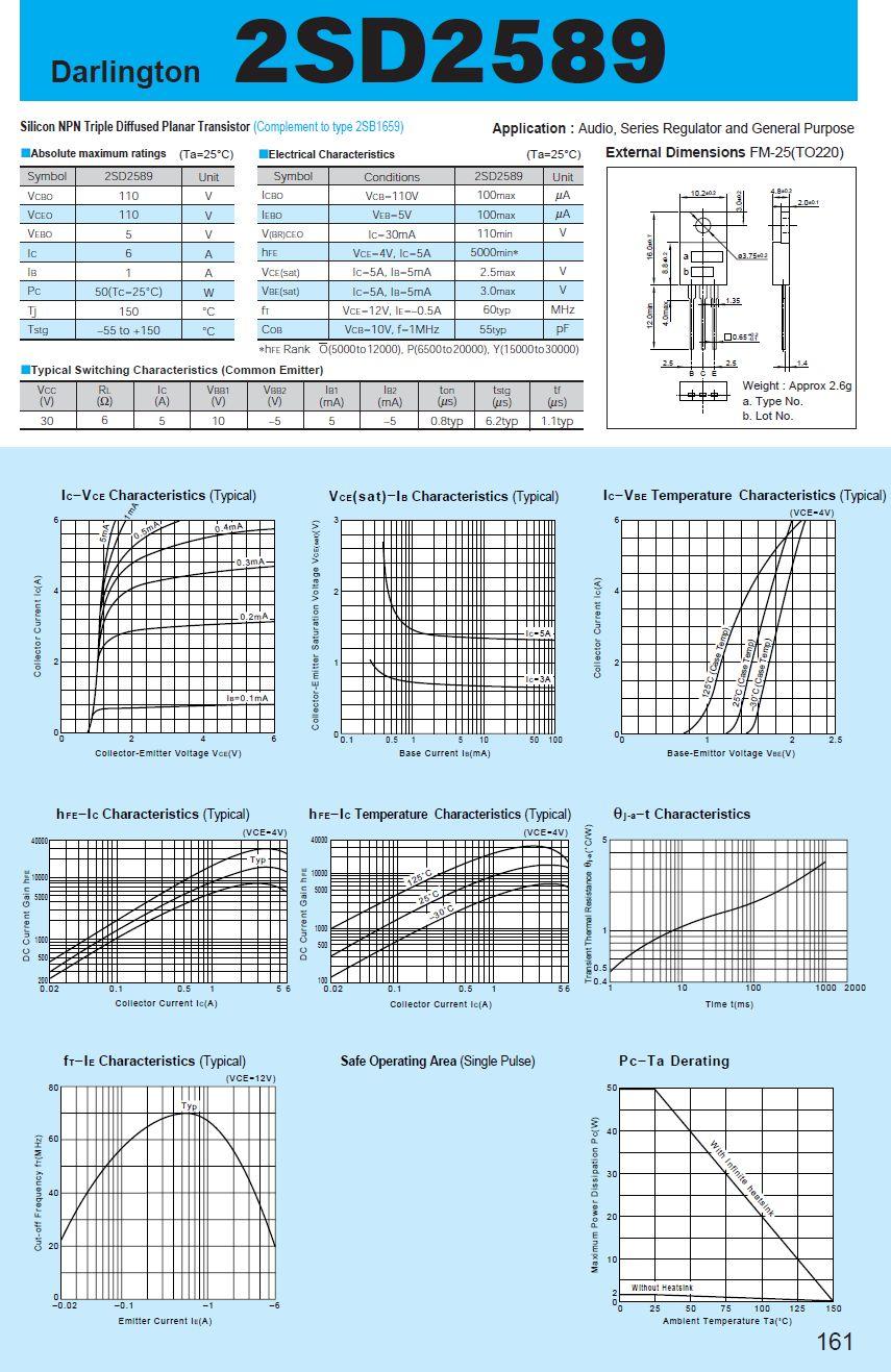 Tranzisztor NPN Darlington 110V 6A 50W 60MHz 2SD2589 2SD2589