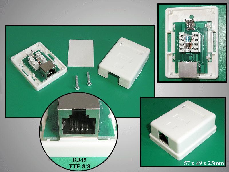 FTP RJ45 fali aljzat 1x8p. falon kívüli CSAT-T018 8/8F1