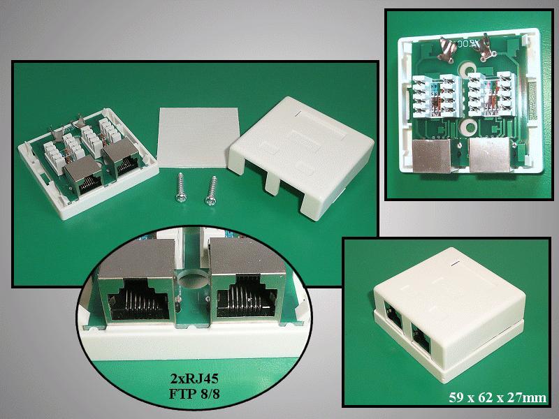FTP 2xRJ45 fali aljzat 2x8p. falon kívüli CSAT-T018 8/8F2