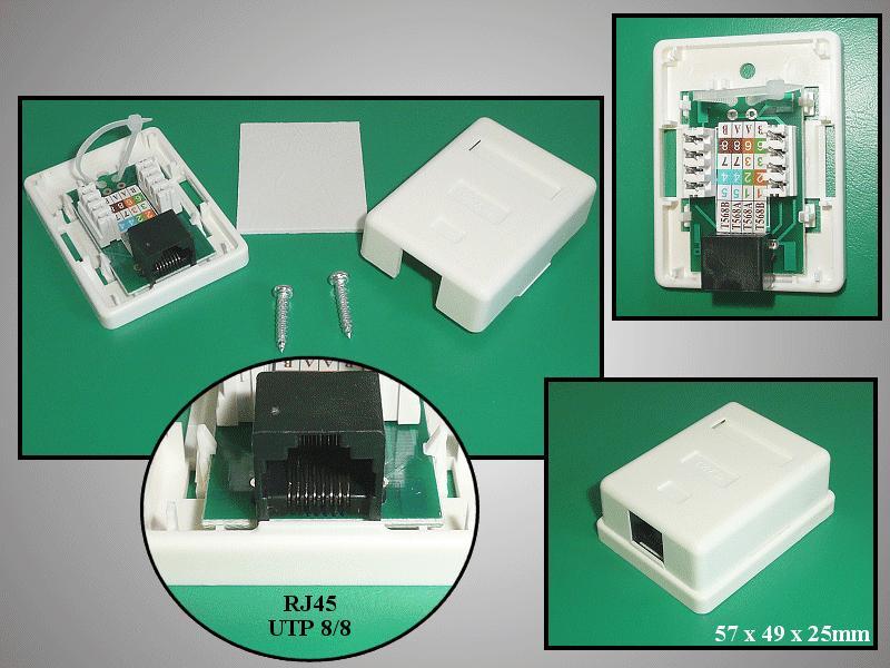 UTP RJ45 fali aljzat 1x8p. falon kívüli CSAT-T018 8/8U1