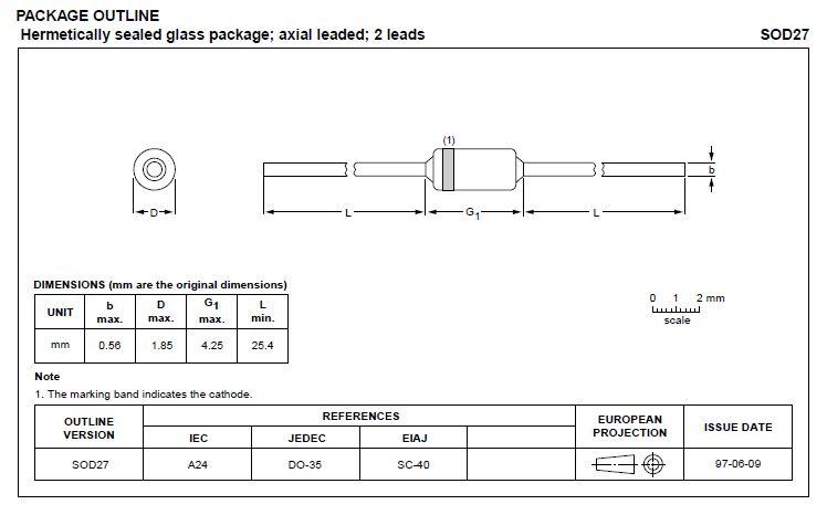 Zéner dióda 43V 5% BZX79C43 0.5W 43V -