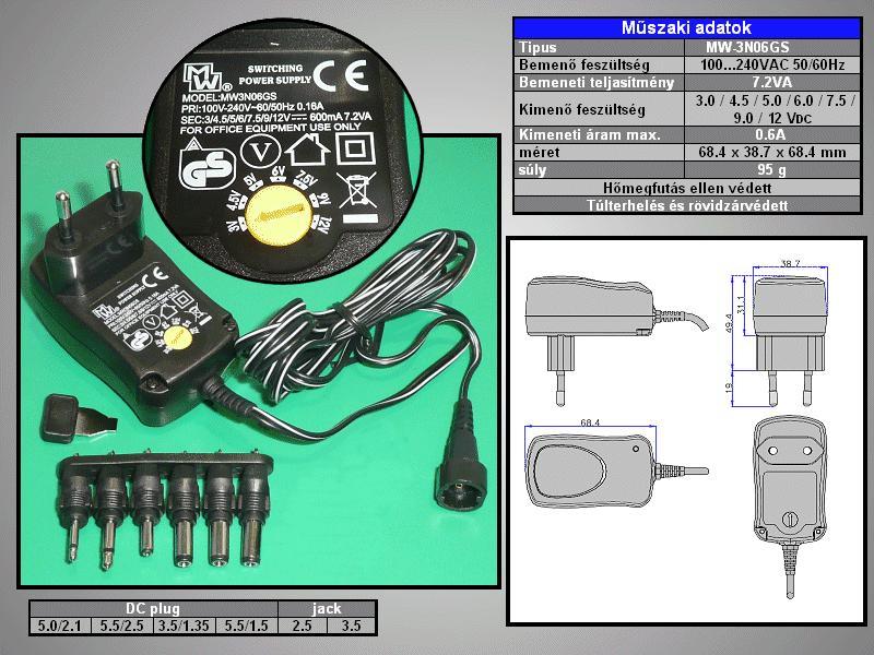 110...240VAC stabilizált tápegység 3...12VDC 600mA 7.2W P.SUP.0600