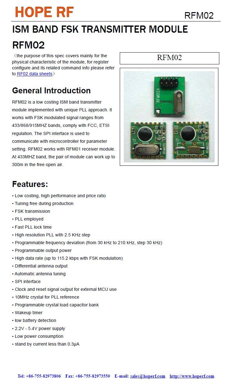 Miniatűr RF adó 5dBm 868MHz SMD RFM02-868-S1