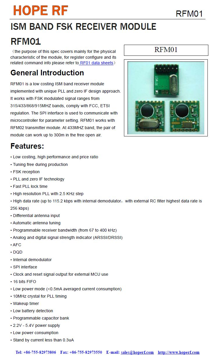 Miniatűr RF vevő -109dBm 868MHz SMD RFM01-868-S2