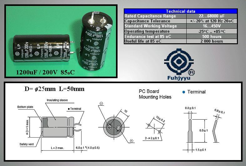 ELKO 1200uF 200V 85°C 25x50 álló 1200/200P