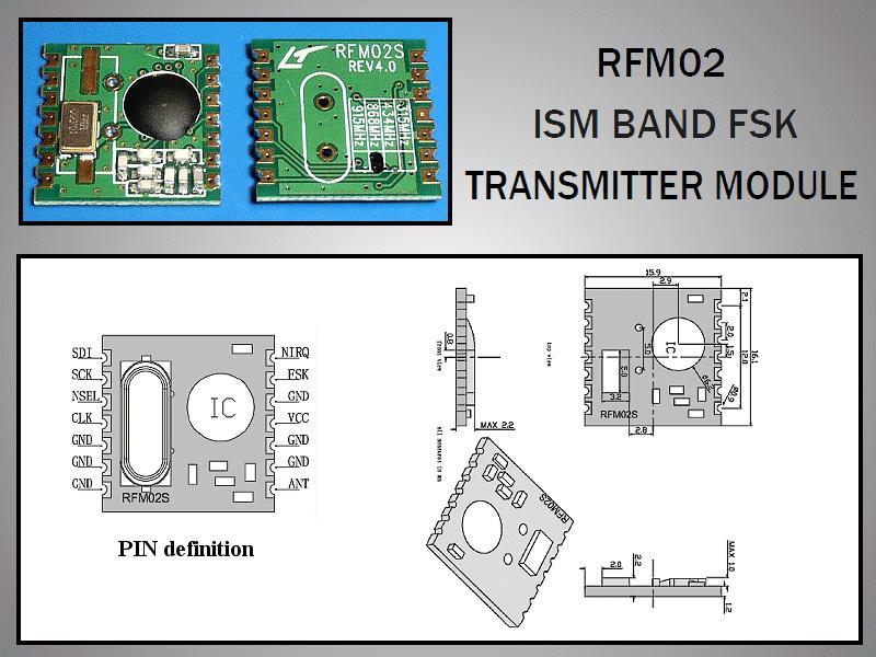 Miniatűr RF adó 5dBm 433MHz SMD RFM02-433-S2
