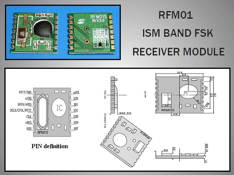 Miniatűr RF vevő -109dBm 433MHz SMD RFM01-433-S2
