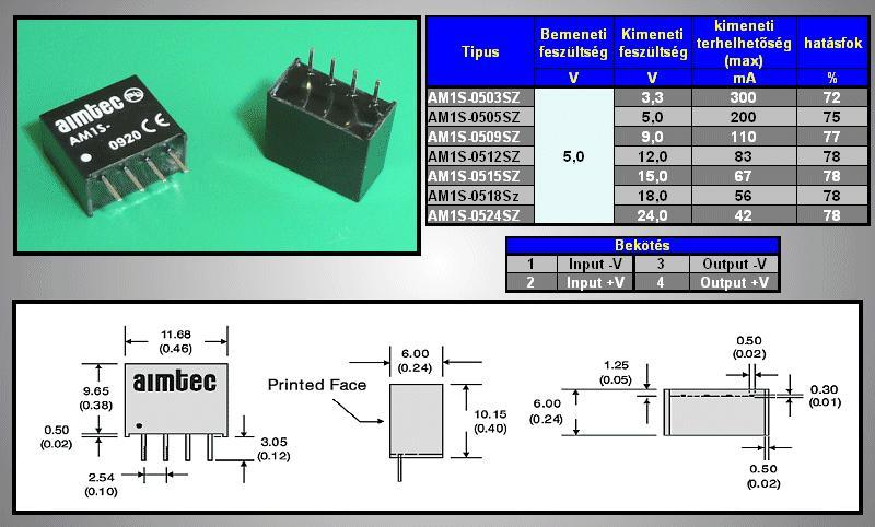 DC/DC átalakító be: 5V ki: 5V 200mA SIP-4 DC05-05S/1W