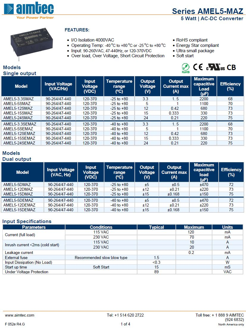 AC/DC modul 90...260VAC 5W 3.3VDC 1.5A AC05W-03V