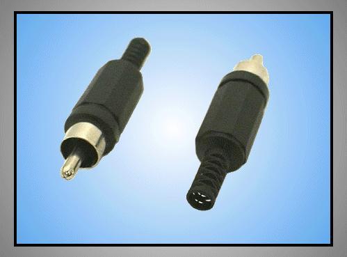 RCA dugó - fekete törésgátlós CSAT-C006/B