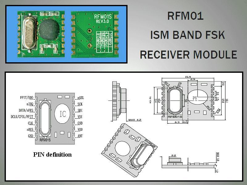 Miniatűr RF vevő -109dBm 433MHz SMD RFM01-433-S1