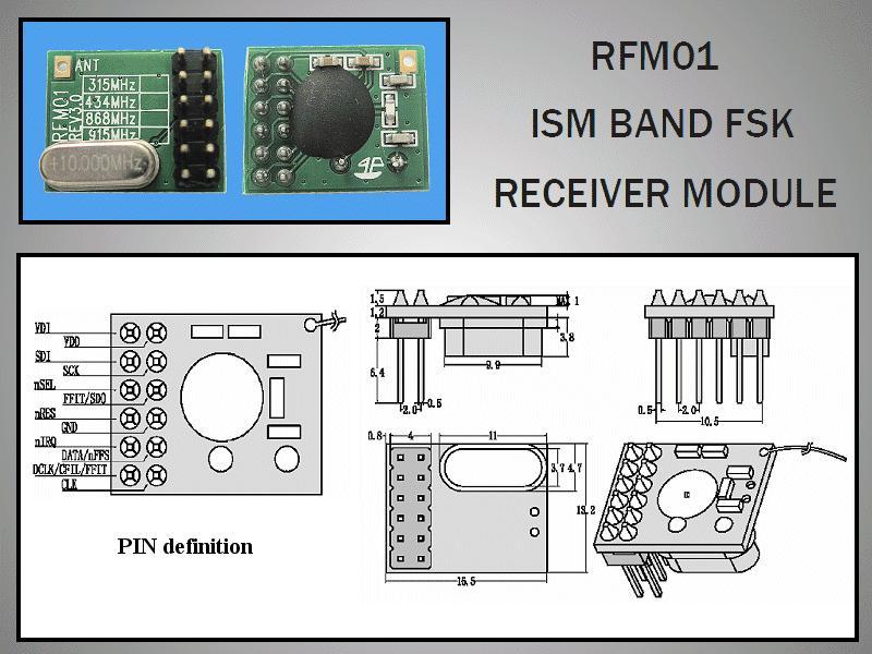 Miniatűr RF vevő -109dBm 433MHz DIP RFM01-433-D