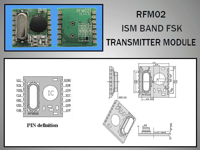 Miniatűr RF adó 5dBm 868MHz SMD RFM02-868-S1 -