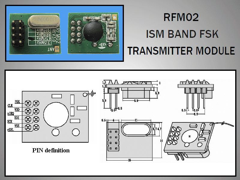 Miniatűr RF adó 5dBm 433MHz DIP RFM02-433-D