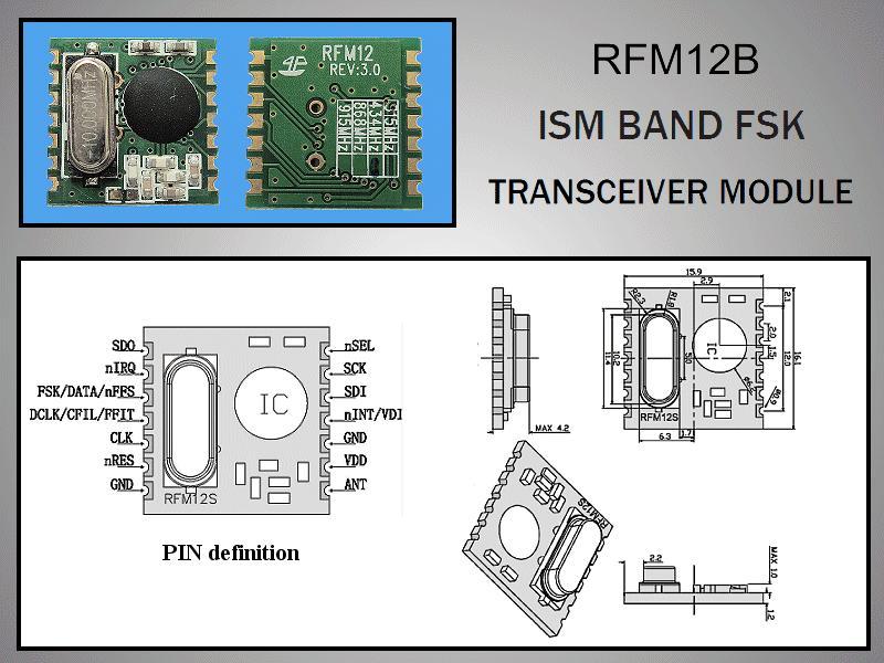 Miniatűr RF adó-vevő 5dBm/-109dBm 433MHz SMD RFM12B-433-S1