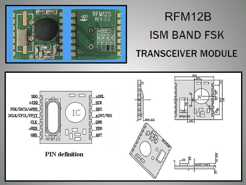 Miniatűr RF adó-vevő 5dBm/-109dBm 868MHz SMD RFM12B-868-S2