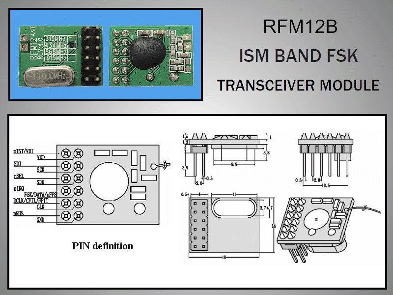 Miniatűr RF adó-vevő 5dBm/-109dBm 433MHz DIP RFM12B-433-D