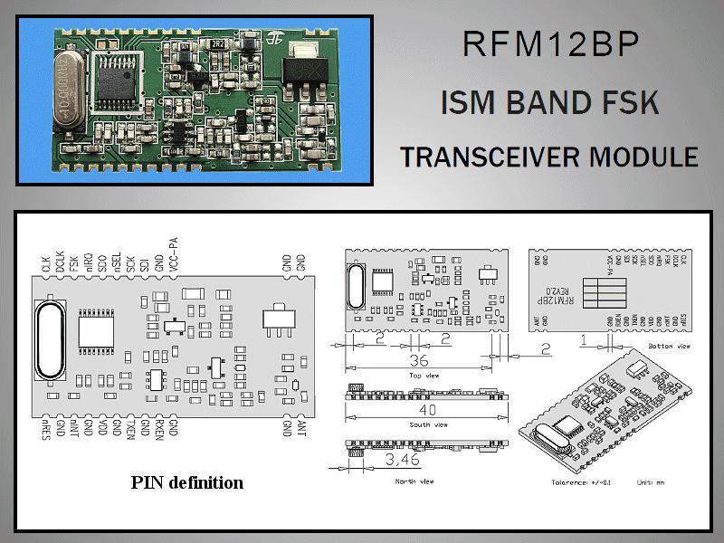 Miniatűr RF adó-vevő 27dBm /-116dBm 433MHz DIP RFM12BP-433