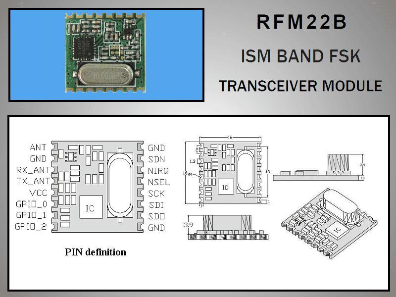 Miniatűr RF adó-vevő +17dBm/-118dBm 433MHz SMD RFM22B-433-S1