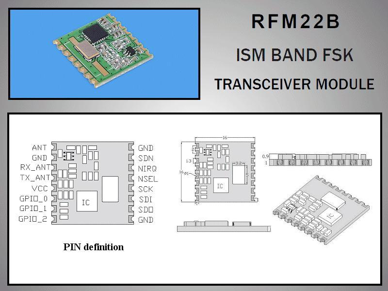 Miniatűr RF adó-vevő +17dBm/-118dBm 433MHz SMD RFM22B-433-S2