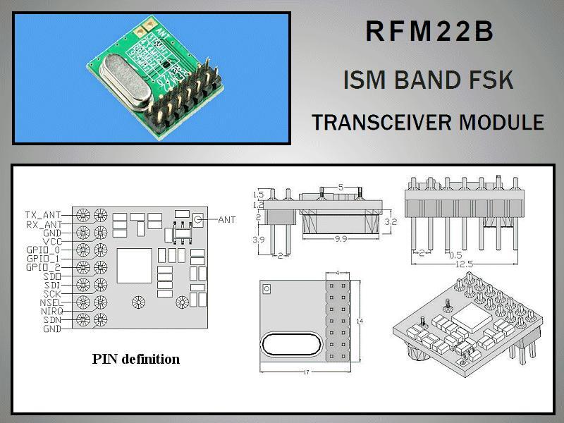Miniatűr RF adó-vevő +17dBm/-118dBm 433MHz DIP RFM22B-433-D