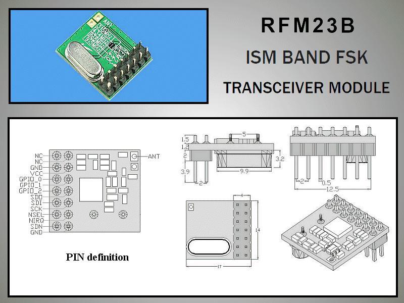 Miniatűr RF adó-vevő +13dBm/-118dBm 433MHz DIP RFM23B-433-D
