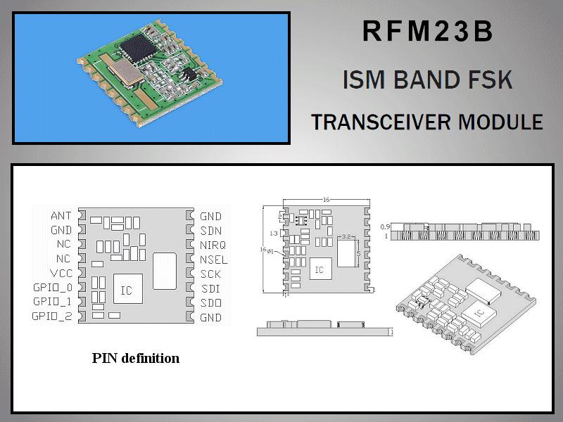Miniatűr RF adó-vevő +13dBm/-118dBm 433MHz SMD RFM23B-433-S2