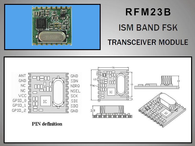 Miniatűr RF adó-vevő +13dBm/-118dBm 433MHz SMD RFM23B-433-S1