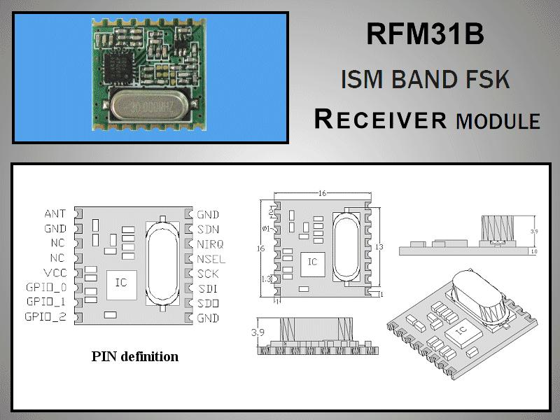 Miniatűr RF vevő -118dBm 433MHz SMD RFM31B-433-S1