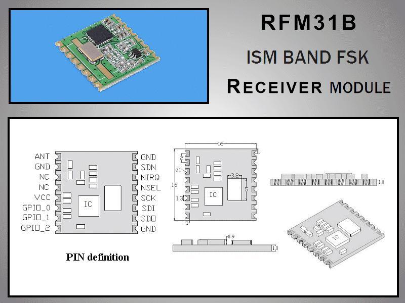 Miniatűr RF vevő -118dBm 433MHz SMD RFM31B-433-S2