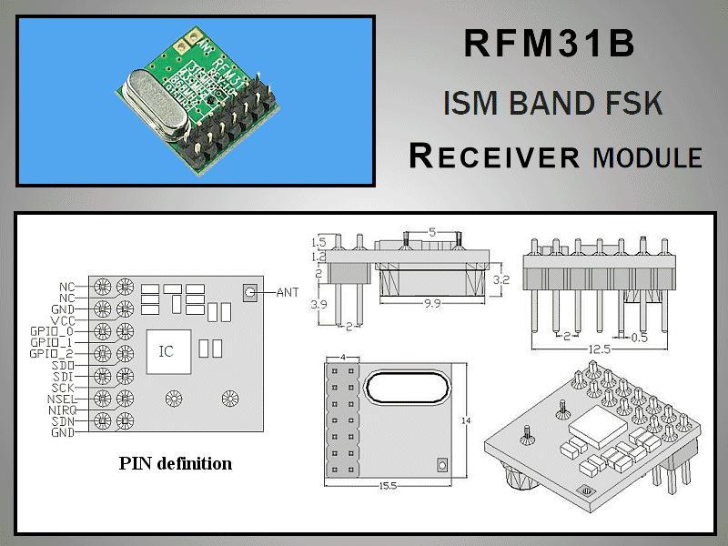 Miniatűr RF vevő -118dBm 433MHz DIP RFM31B-433-D