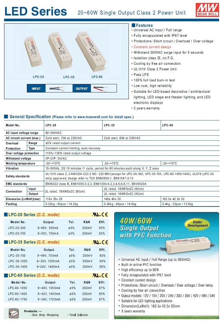 LED áramgenerátoros tápegység 20W/350mA P.SUP.LPC20350