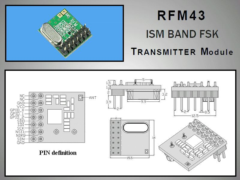 Miniatűr RF adó +13dBm 433MHz DIP RFM43B-433-D
