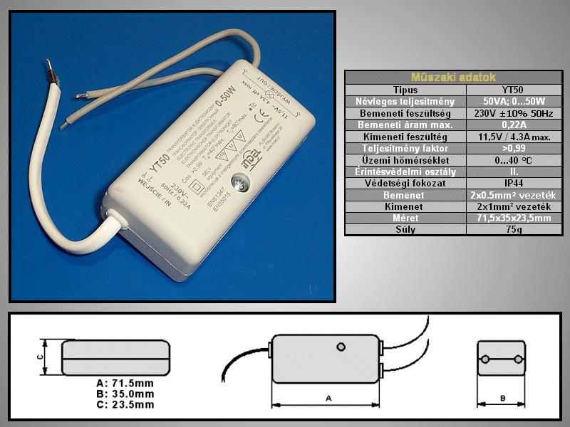 Tápegység halogén lámpához 230Vac / 11,5Vac 4,3A 50W LAMP 02/12/050