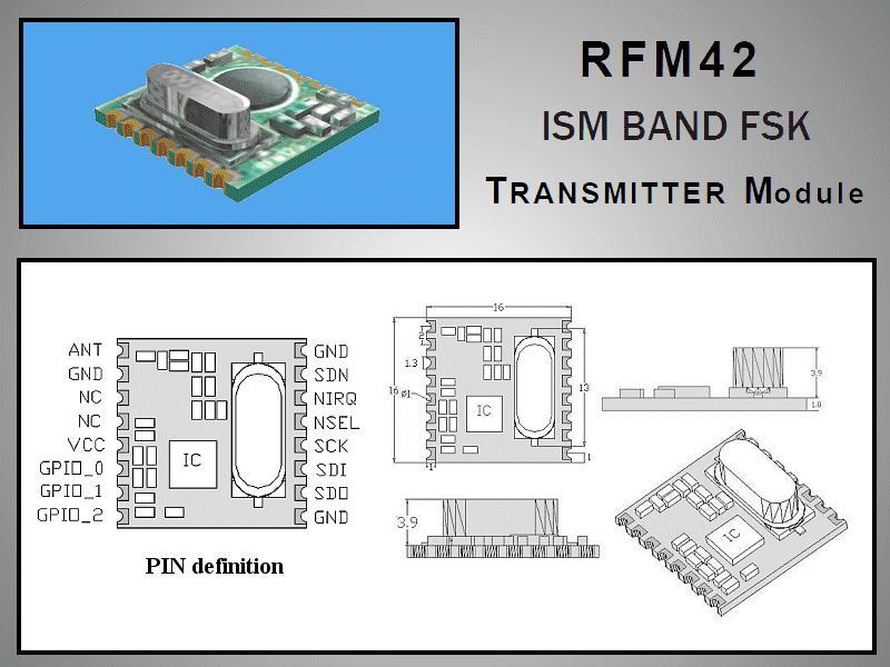 Miniatűr RF adó +20dBm 433MHz SMD RFM42B-433-S1