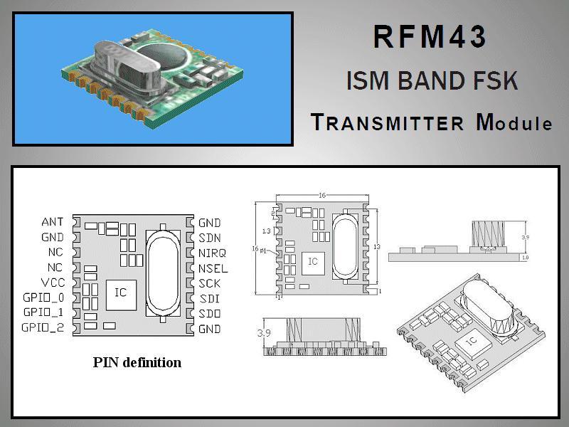 Miniatűr RF adó +13dBm 433MHz SMD RFM43B-433-S1