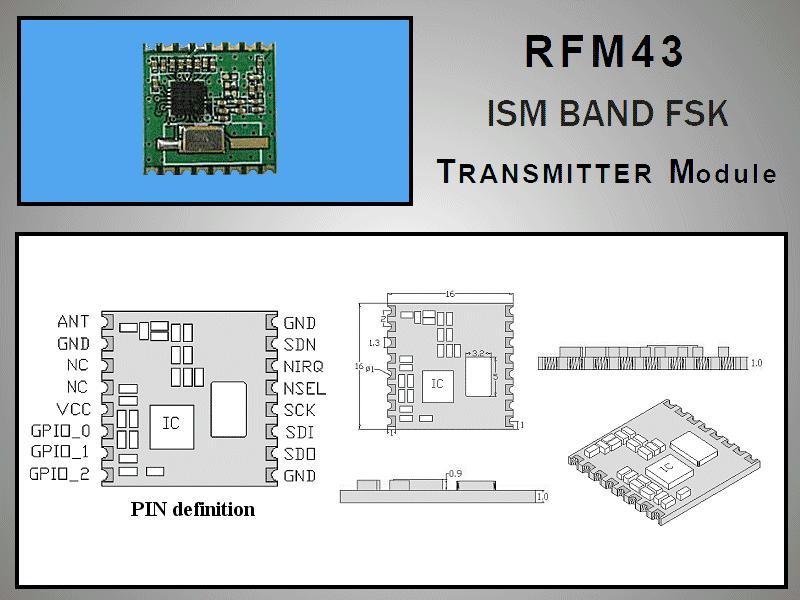 Miniatűr RF adó +13dBm 433MHz SMD RFM43B-433-S2
