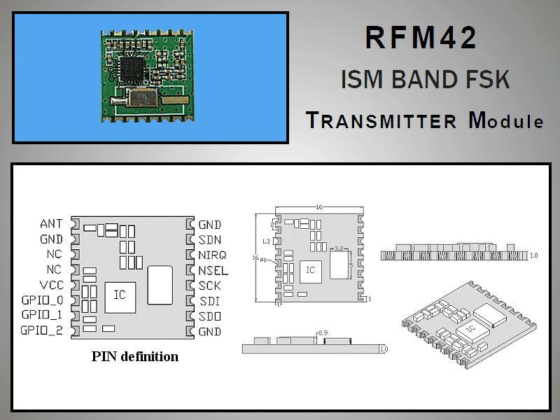 Miniatűr RF adó +20dBm 433MHz SMD RFM42B-433-S2