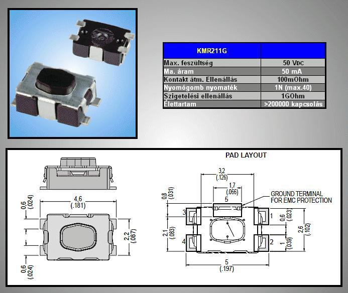 SMD mikrokapcsoló 4.2x2.8mm 4p g.0.5 SW1000S42