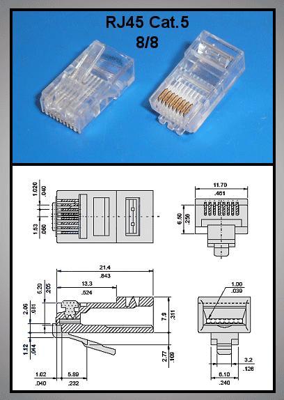 RJ45 UTP dugó 8p/8c modular, CAT5 CSAT-T004 VDI