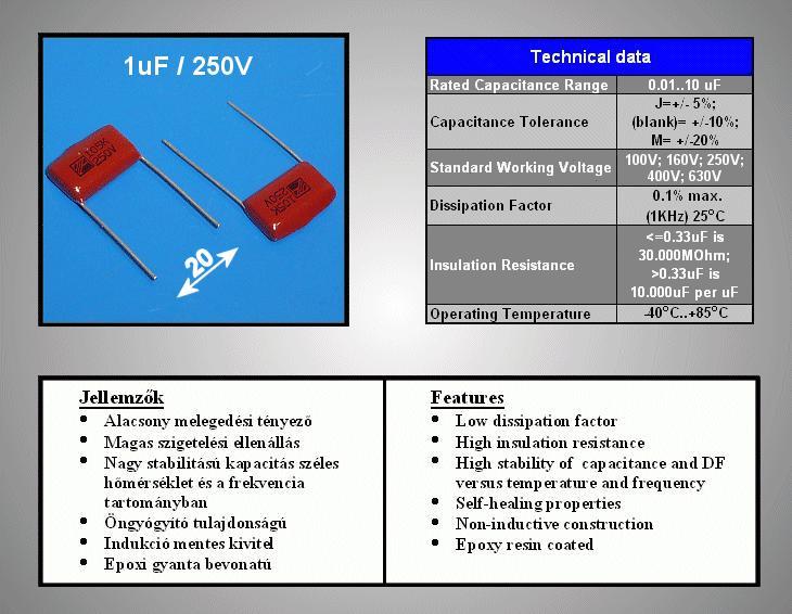 Kondenzátor 1uF 250V 10% C-Film C 1U0 250/PPF