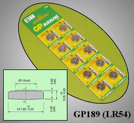 1.5V Alkáli elem GP 189, LR1130, LR54, V10GA, AG10 BAT LR1130 GP
