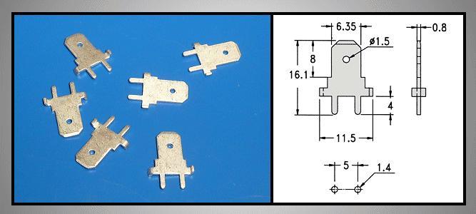 Csuszósaru nyákba 6.3/0.8/16mm CS-K226308M