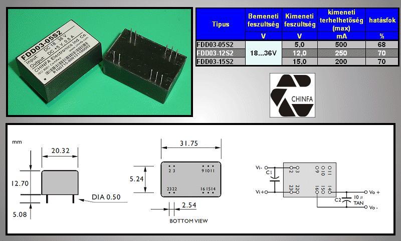 DC/DC átalakító be: 24V ki: 5V 500mA DC24-05S/2.5W