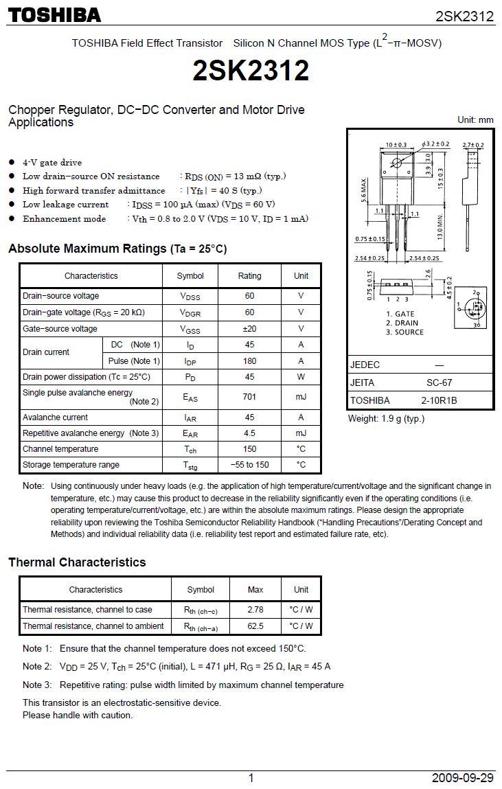 Tranzisztor N-MOSFET+Z 60V 45A/160Ap 45W 0.013R 2SK2312 2SK2312 -