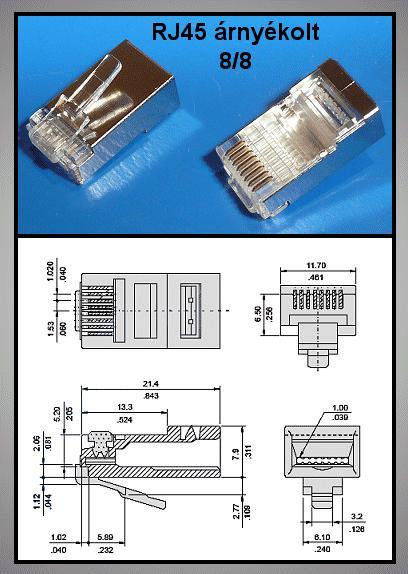 RJ45 FTP/STP dugó 8p/8c árnyékolt, CAT5 (kerek kábelre) CSAT-T004-FTP