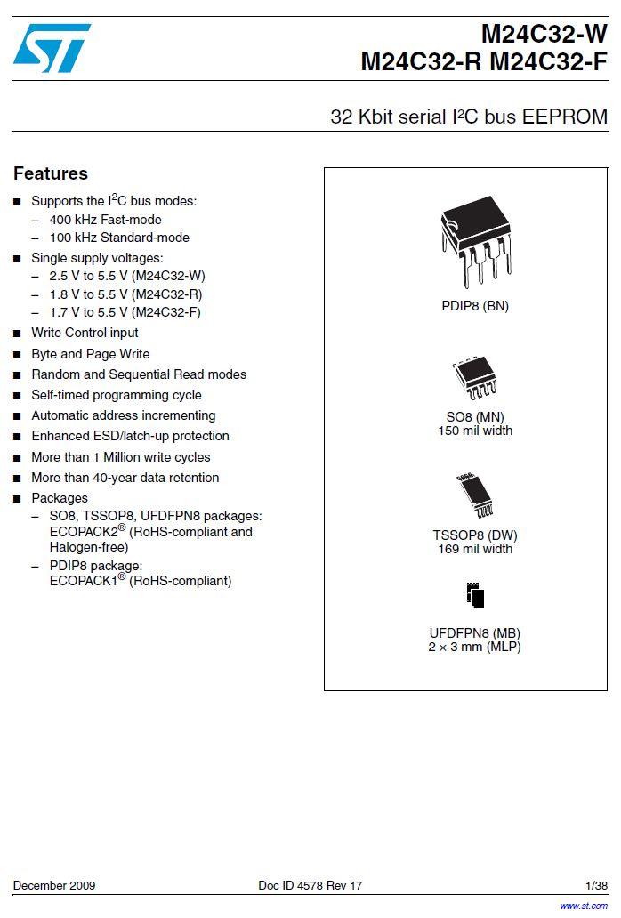 EEPROM 4Kx8 bit I2C BUS 8p. SMD 24C32-WMN6P -