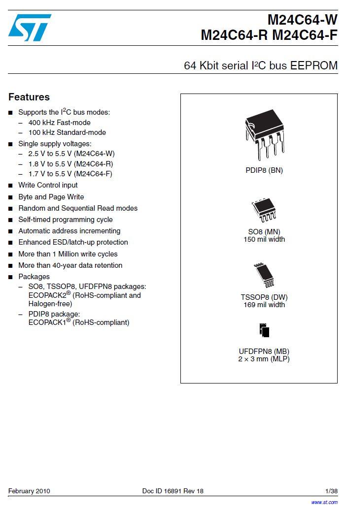 EEPROM 8Kx8 bit I2C BUS 8p. DIP 24C64-WBN6P -