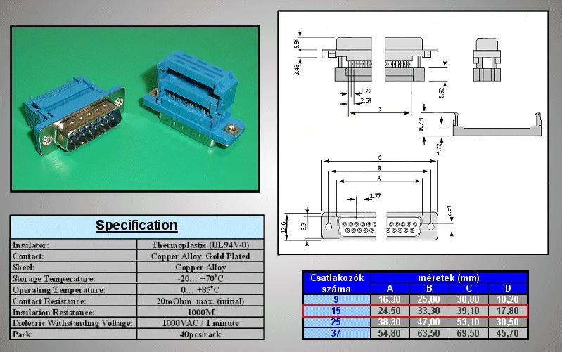D-SUB 15p. dugó szalagkábelre CS-DS015P/2/SB