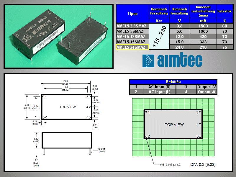 AC/DC modul 115...230VAC 5W 24VDC 0.21A AC05W-24V